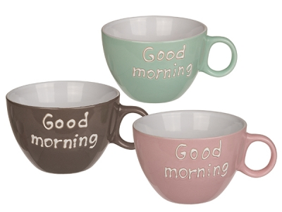 Stoneware Milk Coffee Mug, Good Morning, approx. 12 x 8 cm, 3 assorted colors