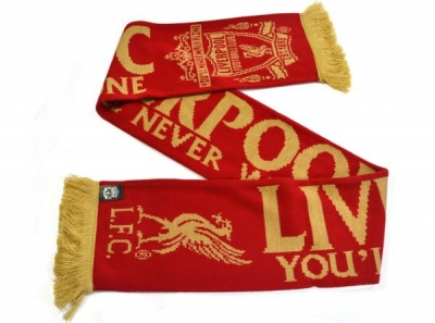 Liverpool Knitted Jacquard Fan Scarf Gold