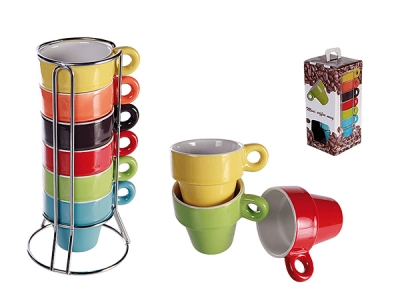 Stoneware espresso cup, approx. 5 x 5 cm, 6-colored assorted set on chrome stand