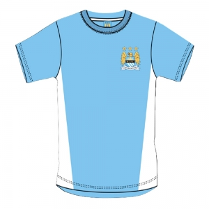 Manchester City Blue Crest Mens Retro T-Shirt