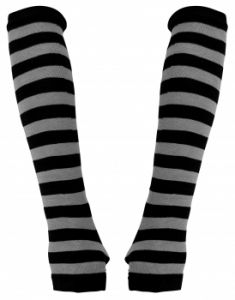 Gloves with black gray stripes